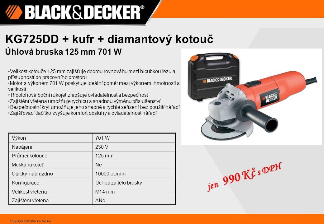 KG725DD + kufr + diamantový kotouč Úhlová bruska 125 mm 701 W Velikost kotouče 125 mm zajišťuje dobrou rovnováhu mezi hloubkou řezu a přístupností do pracovního prostoru Motor s výkonem 701 W poskytuje ideální poměr mezi výkonem, hmotností a velikostí Třípolohová boční rukojeť zlepšuje ovladatelnost a bezpečnost Zajištění vřetena umožňuje rychlou a snadnou výměnu příslušenství Bezpečnostní kryt umožňuje jeho snadné a rychlé seřízení bez použití nářadí Zajišťovací tlačítko zvyšuje komfort obsluhy a ovladatelnost nářadí Výkon701 W Napájení230 V Průměr kotouče125 mm Měkká rukojeťNe Otáčky naprázdno10000 ot./min KonfiguraceÚchop za tělo brusky Velikost vřetenaM14 mm Zajištění vřetenaANo jen 990 Kč s DPH