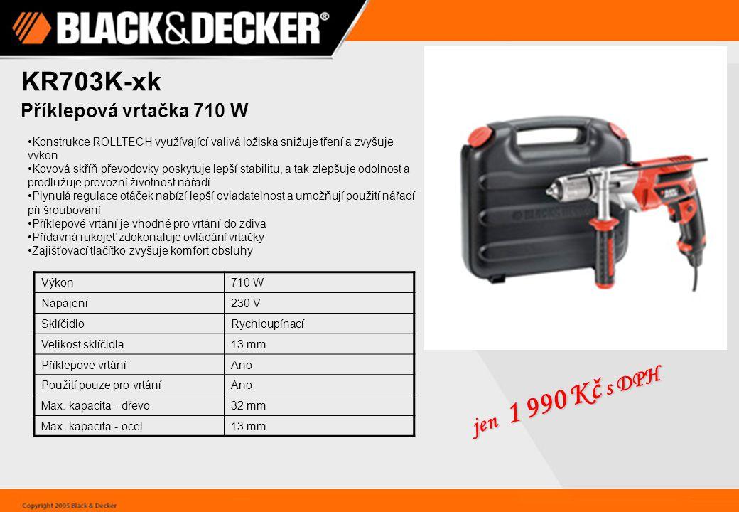 KR703K-xk Příklepová vrtačka 710 W Konstrukce ROLLTECH využívající valivá ložiska snižuje tření a zvyšuje výkon Kovová skříň převodovky poskytuje lepší stabilitu, a tak zlepšuje odolnost a prodlužuje provozní životnost nářadí Plynulá regulace otáček nabízí lepší ovladatelnost a umožňují použití nářadí při šroubování Příklepové vrtání je vhodné pro vrtání do zdiva Přídavná rukojeť zdokonaluje ovládání vrtačky Zajišťovací tlačítko zvyšuje komfort obsluhy Výkon710 W Napájení230 V SklíčidloRychloupínací Velikost sklíčidla13 mm Příklepové vrtáníAno Použití pouze pro vrtáníAno Max.