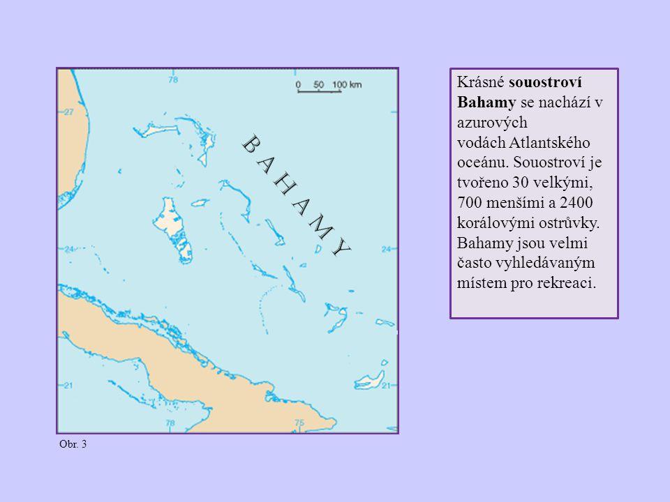 Krásné souostroví Bahamy se nachází v azurových vodách Atlantského oceánu. Souostroví je tvořeno 30 velkými, 700 menšími a 2400 korálovými ostrůvky. B