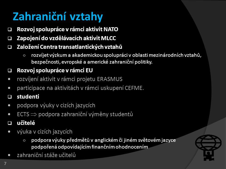  Rozvoj spolupráce v rámci aktivit NATO  Zapojení do vzdělávacích aktivit MLCC  Založení Centra transatlantických vztahů ○ rozvíjet výzkum a akadem