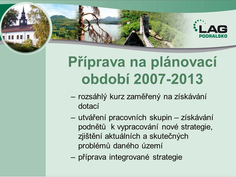 Příprava na plánovací období 2007-2013 –rozsáhlý kurz zaměřený na získávání dotací –utváření pracovních skupin – získávání podnětů k vypracování nové