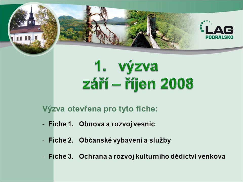 Výzva otevřena pro tyto fiche: - Fiche 1. Obnova a rozvoj vesnic - Fiche 2. Občanské vybavení a služby - Fiche 3. Ochrana a rozvoj kulturního dědictví