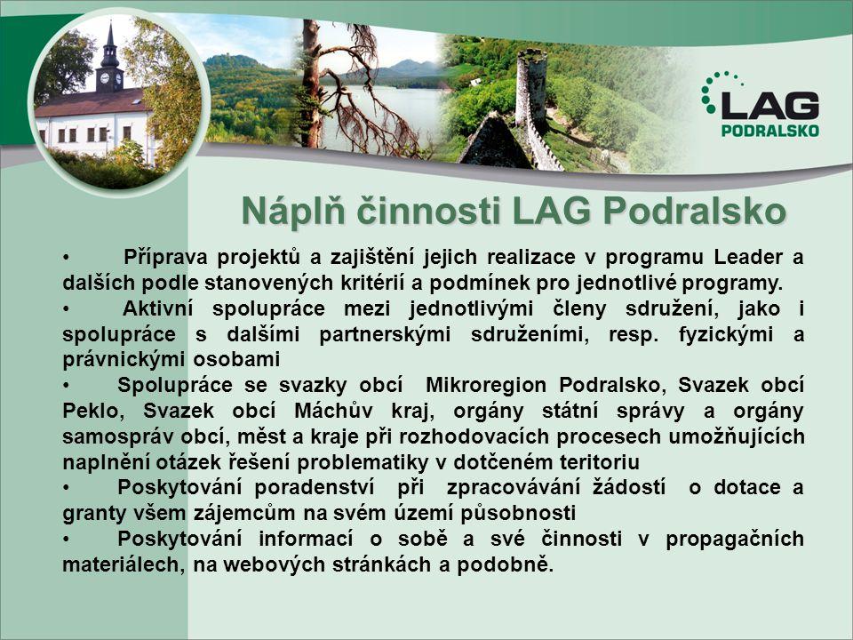 Náplň činnosti LAG Podralsko Náplň činnosti LAG Podralsko. Příprava projektů a zajištění jejich realizace v programu Leader a dalších podle stanovenýc
