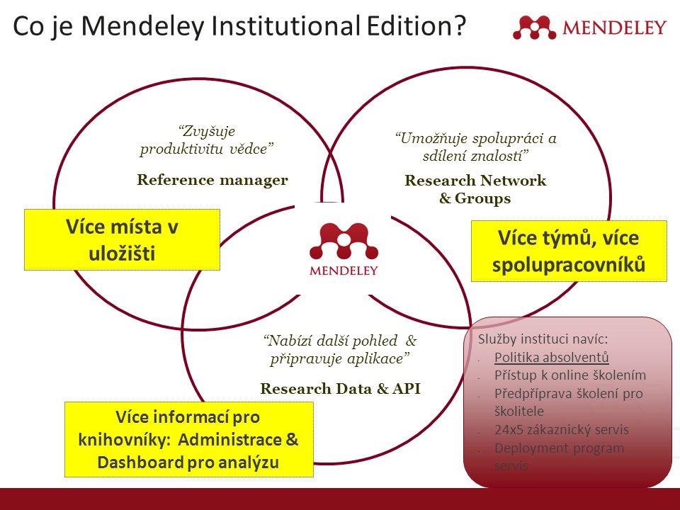 """Co je Mendeley Institutional Edition? Reference manager """"Zvyšuje produktivitu vědce"""" Research Data & API """"Nabízí další pohled & připravuje aplikace"""" R"""