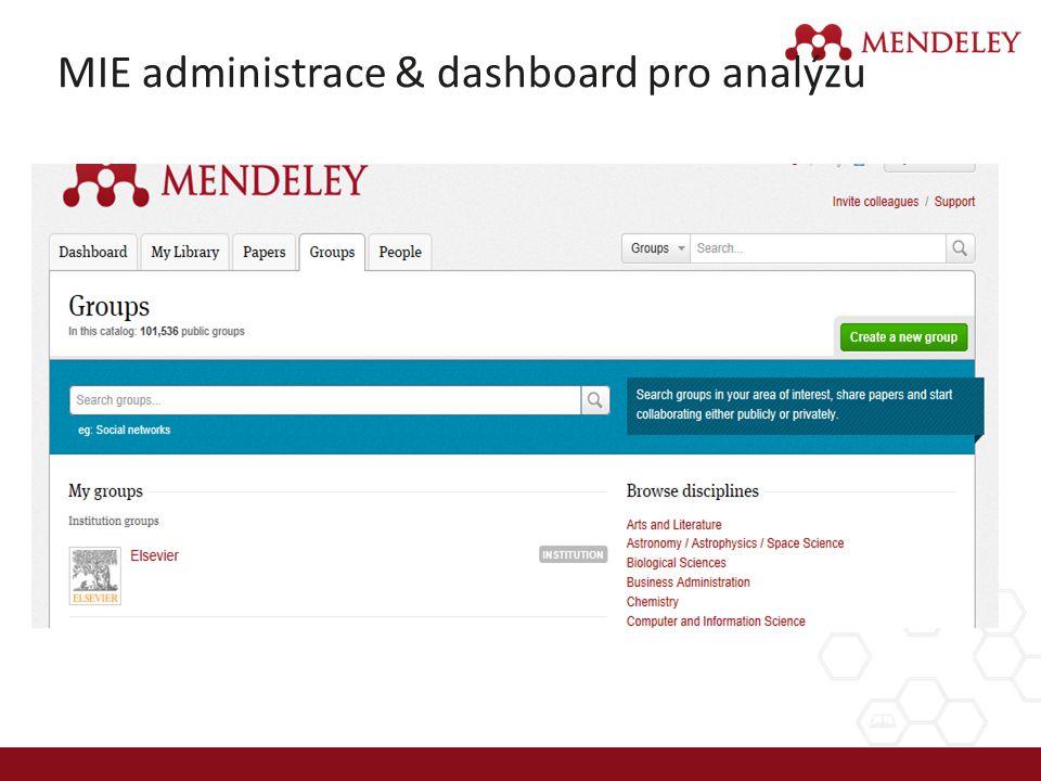 MIE administrace & dashboard pro analýzu