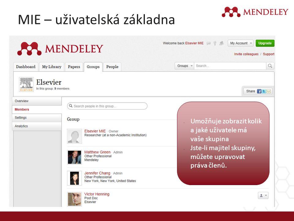MIE – uživatelská základna Umožňuje zobrazit kolik a jaké uživatele má vaše skupina Jste-li majitel skupiny, můžete upravovat práva členů.