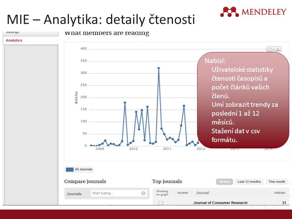 MIE – Analytika: detaily čtenosti Nabízí: Uživatelské statistiky čtenosti časopisů a počet článků vašich členů. Umí zobrazit trendy za poslední 1 až 1
