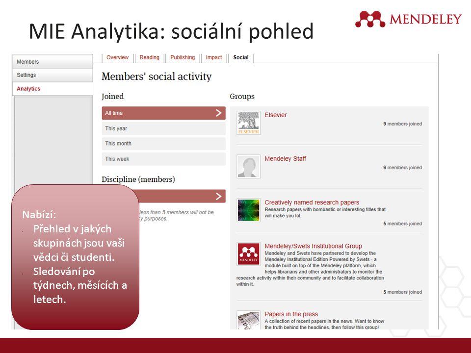 MIE Analytika: sociální pohled Nabízí: Přehled v jakých skupinách jsou vaši vědci či studenti. Sledování po týdnech, měsících a letech.