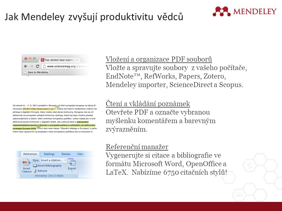 Jak Mendeley zvyšují produktivitu vědců Referenční manažer Vygenerujte si citace a bibliografie ve formátu Microsoft Word, OpenOffice a LaTeX. Nabízím