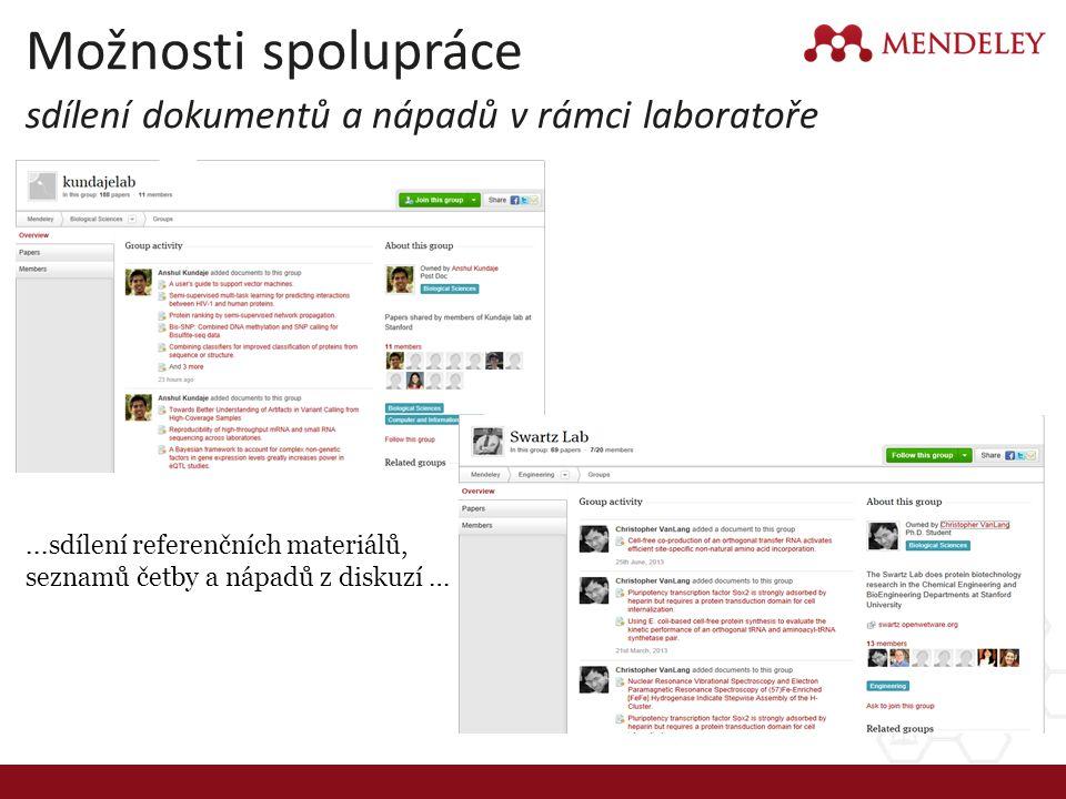 Možnosti spolupráce sdílení dokumentů a nápadů v rámci laboratoře...sdílení referenčních materiálů, seznamů četby a nápadů z diskuzí …