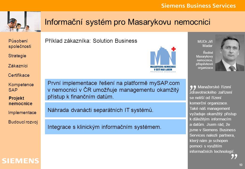Global network of innovation 10 Informační systém pro Masarykovu nemocnici MUDr.Jiří Madar Ředitel Masarykovy nemocnice, příspěvkové organizace Manaže