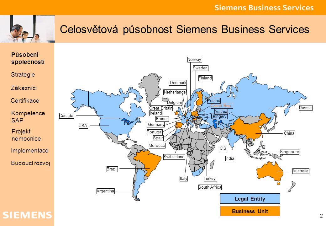 Global network of innovation 2 Celosvětová působnost Siemens Business Services Působení společnosti Strategie Zákazníci Projekt nemocnice Certifikace