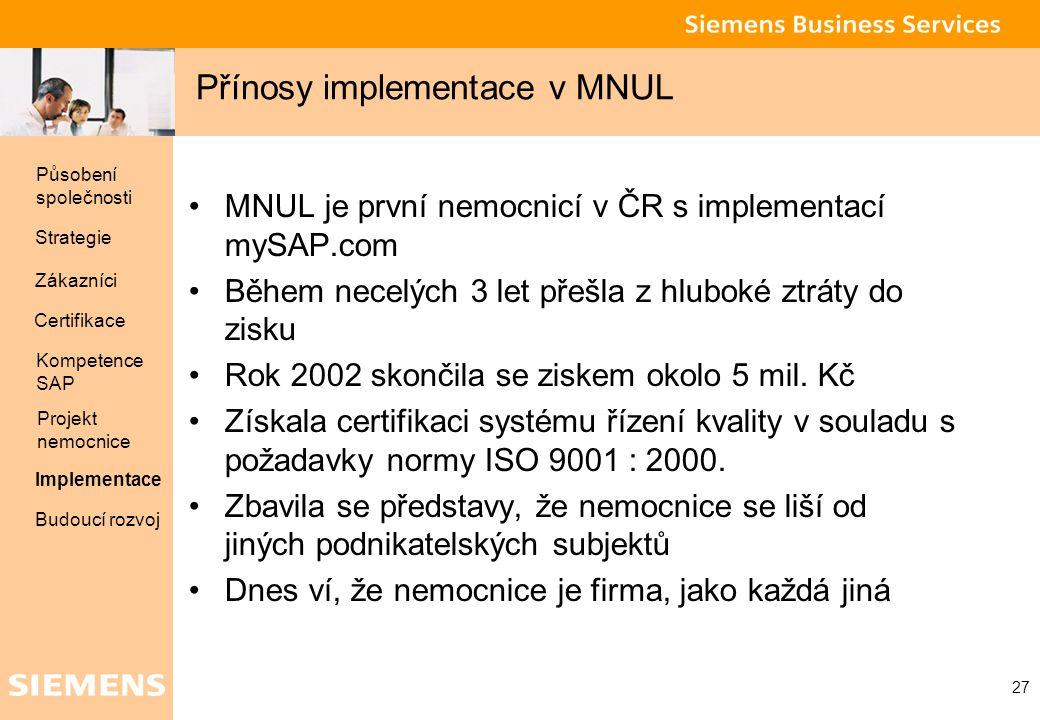 Global network of innovation 27 Přínosy implementace v MNUL MNUL je první nemocnicí v ČR s implementací mySAP.com Během necelých 3 let přešla z hlubok