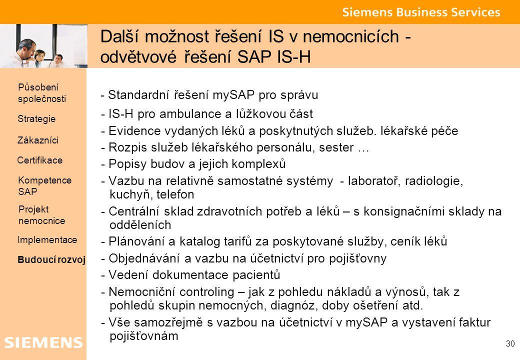 Global network of innovation 30 Další možnost řešení IS v nemocnicích - odvětvové řešení SAP IS-H - Standardní řešení mySAP pro správu - IS-H pro ambu