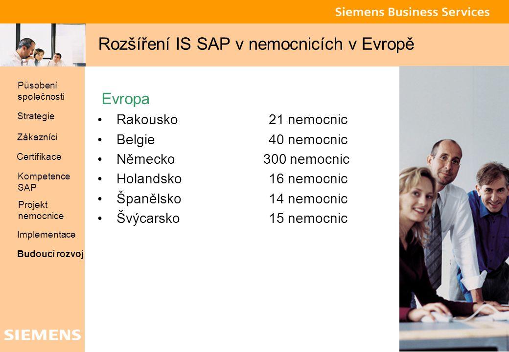 Global network of innovation 31 Rozšíření IS SAP v nemocnicích v Evropě Evropa Rakousko 21 nemocnic Belgie40 nemocnic Německo 300 nemocnic Holandsko 1