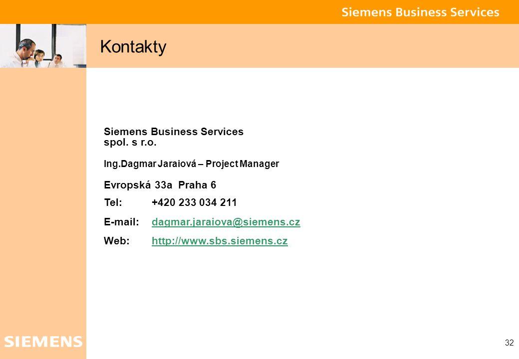 Global network of innovation 32 Kontakty Siemens Business Services spol. s r.o. Ing.Dagmar Jaraiová – Project Manager Evropská 33a Praha 6 Tel: +420 2