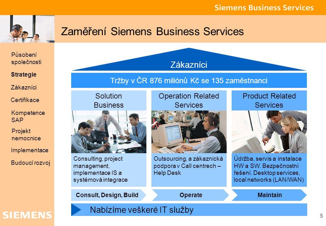 Global network of innovation 5 Zaměření Siemens Business Services Zákazníci Tržby v ČR 876 miliónů Kč se 135 zaměstnanci Solution Business Consulting,