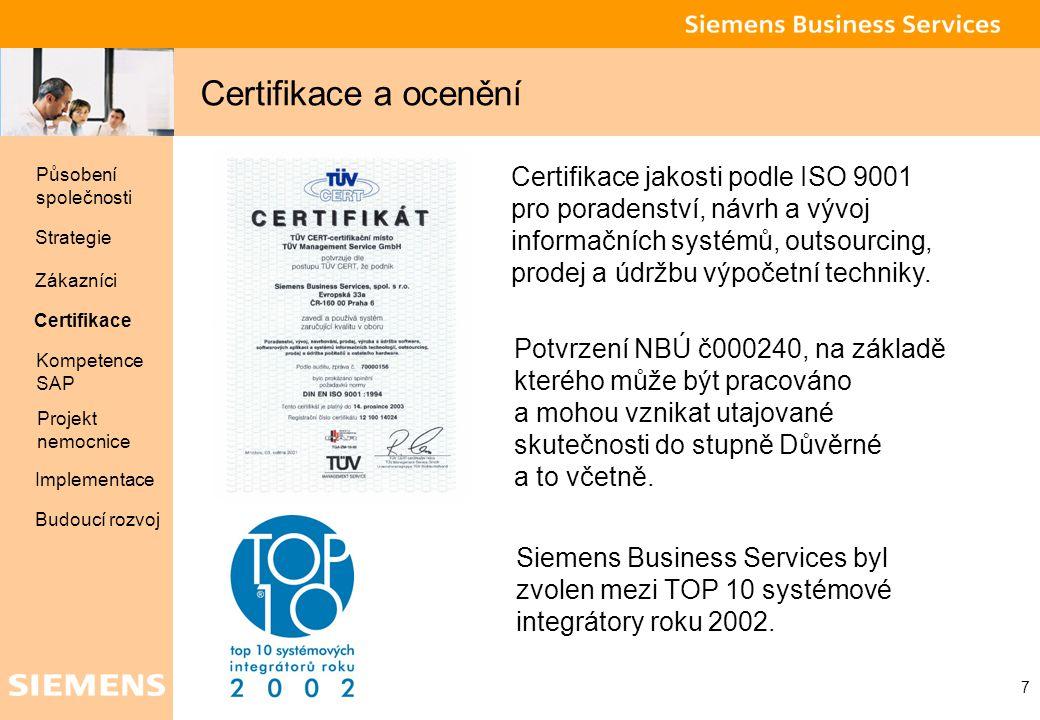Global network of innovation 7 Certifikace a ocenění Certifikace jakosti podle ISO 9001 pro poradenství, návrh a vývoj informačních systémů, outsourci