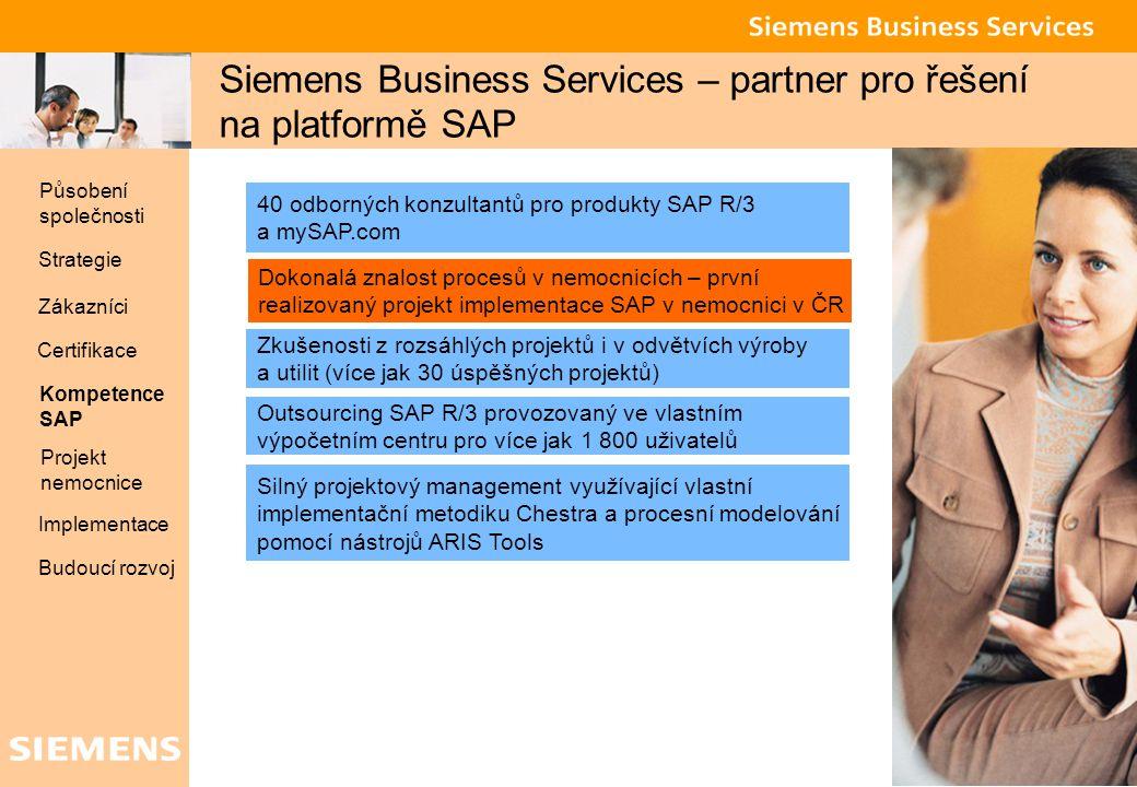 Global network of innovation 9 Siemens Business Services – partner pro řešení na platformě SAP 40 odborných konzultantů pro produkty SAP R/3 a mySAP.c