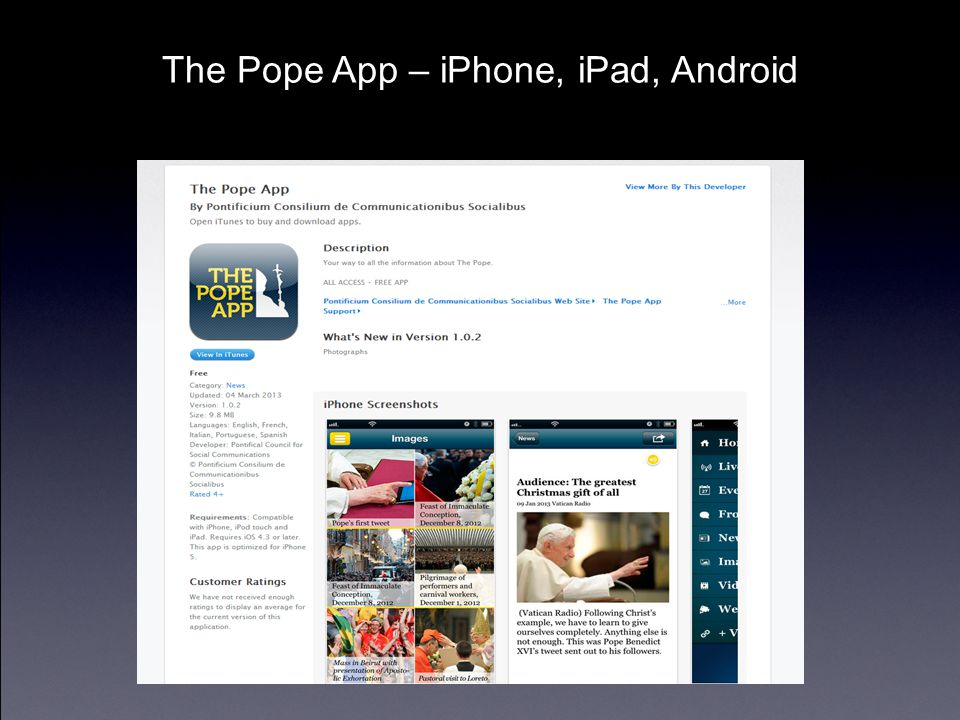 The Pope App – iPhone, iPad, Android