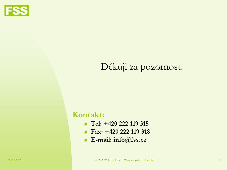 2003-07-07© 2003 FSS, spol. s r.o. Všechna práva vyhrazena.1 Děkuji za pozornost.