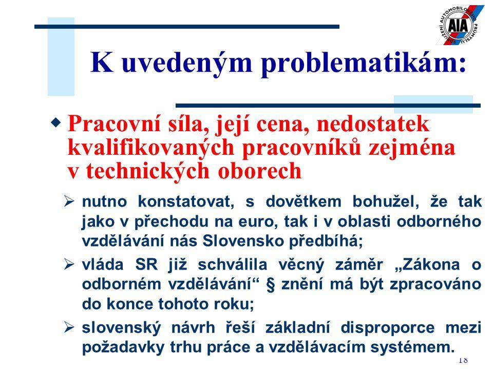 18 K uvedeným problematikám: PP racovní síla, její cena, nedostatek kvalifikovaných pracovníků zejména v technických oborech  nutno konstatovat, s