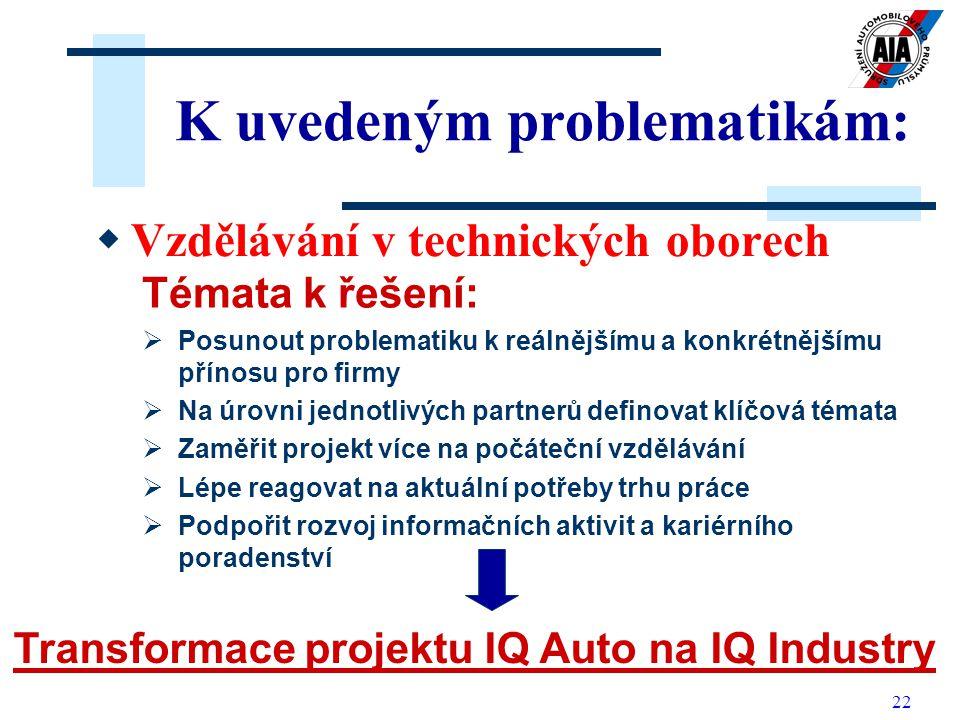22 K uvedeným problematikám: VV zdělávání v technických oborech Témata k řešení:  Posunout problematiku k reálnějšímu a konkrétnějšímu přínosu pro