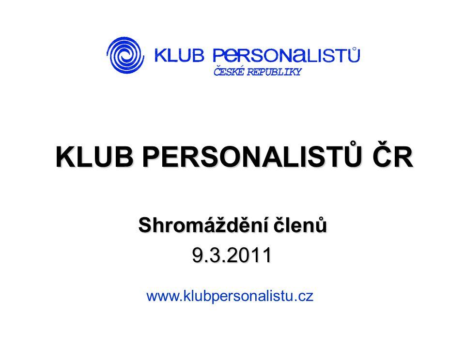 KLUB PERSONALISTŮ ČR Shromáždění členů 9.3.2011 www.klubpersonalistu.cz