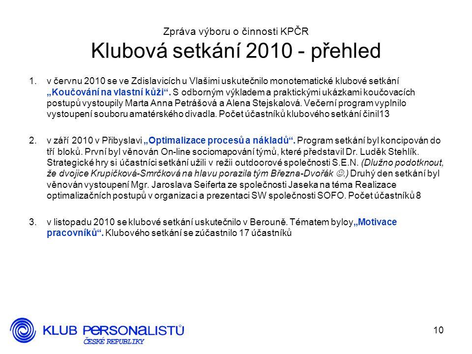 10 Zpráva výboru o činnosti KPČR Klubová setkání 2010 - přehled 1.v červnu 2010 se ve Zdislavicích u Vlašimi uskutečnilo monotematické klubové setkání