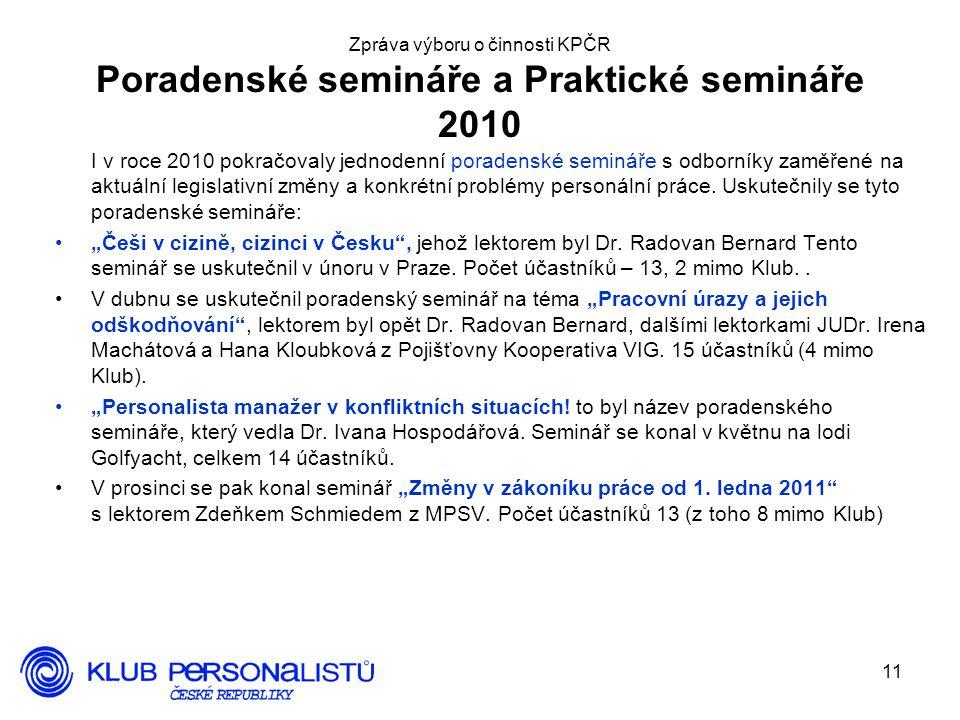 11 Zpráva výboru o činnosti KPČR Poradenské semináře a Praktické semináře 2010 I v roce 2010 pokračovaly jednodenní poradenské semináře s odborníky zaměřené na aktuální legislativní změny a konkrétní problémy personální práce.