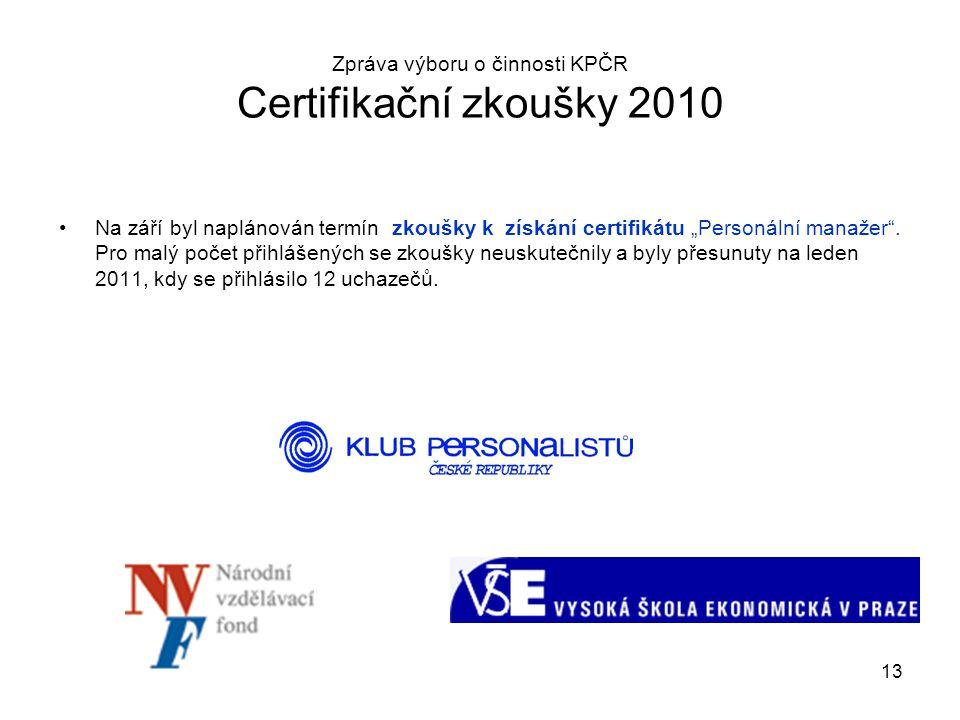 """13 Zpráva výboru o činnosti KPČR Certifikační zkoušky 2010 Na září byl naplánován termín zkoušky k získání certifikátu """"Personální manažer"""". Pro malý"""