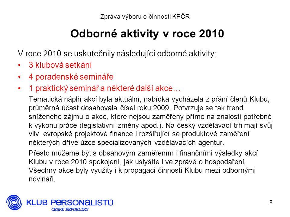 8 Zpráva výboru o činnosti KPČR Odborné aktivity v roce 2010 V roce 2010 se uskutečnily následující odborné aktivity: 3 klubová setkání 4 poradenské semináře 1 praktický seminář a některé další akce… Tematická náplň akcí byla aktuální, nabídka vycházela z přání členů Klubu, průměrná účast dosahovala čísel roku 2009.