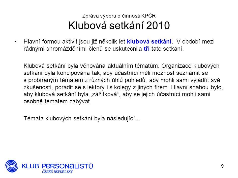 9 Zpráva výboru o činnosti KPČR Klubová setkání 2010 Hlavní formou aktivit jsou již několik let klubová setkání. V období mezi řádnými shromážděními č