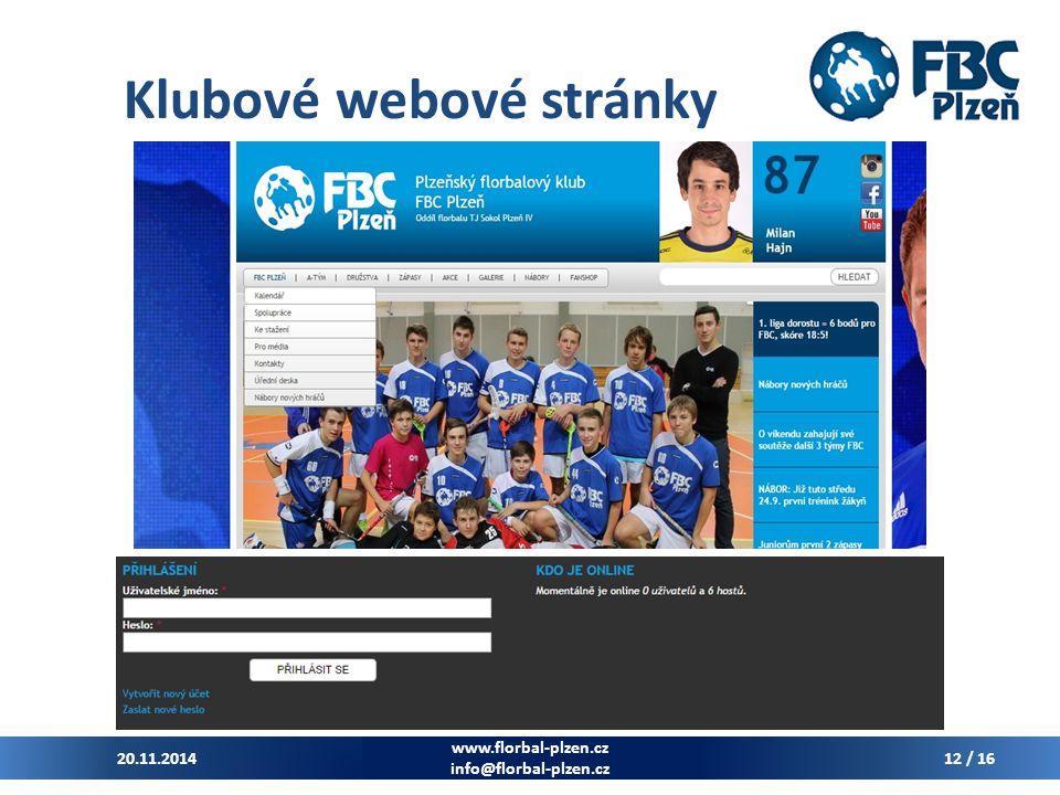 Klubové webové stránky 20.11.2014 www.florbal-plzen.cz info@florbal-plzen.cz 12 / 16