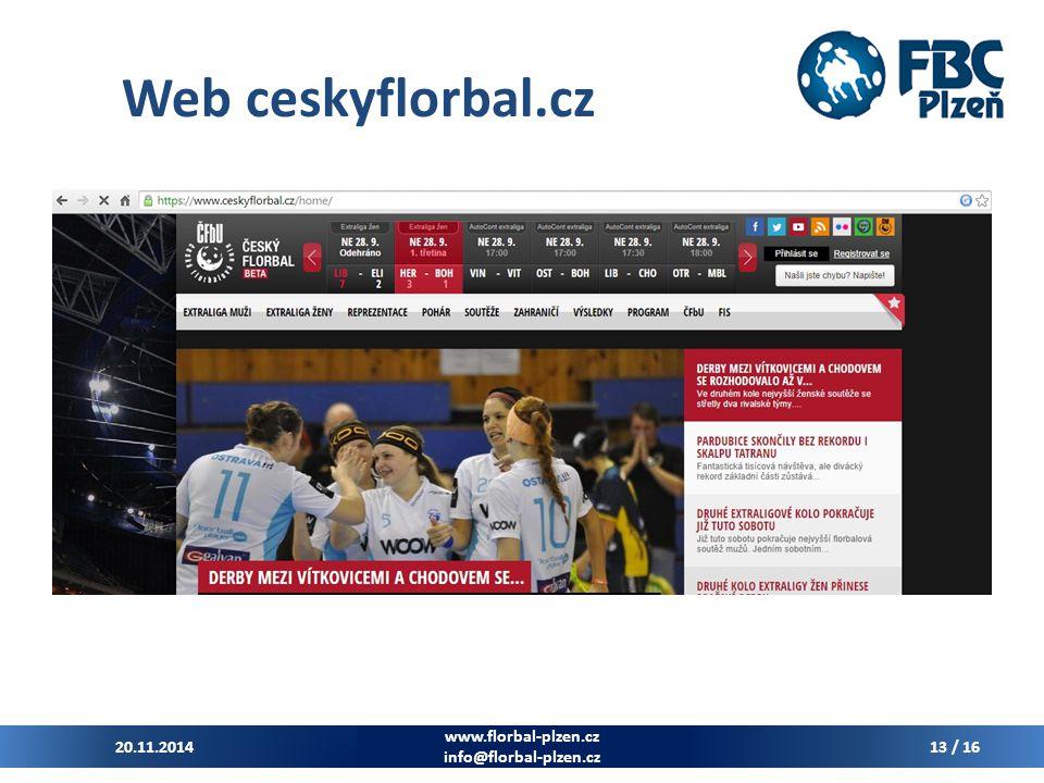 Web ceskyflorbal.cz 20.11.2014 www.florbal-plzen.cz info@florbal-plzen.cz 13 / 16