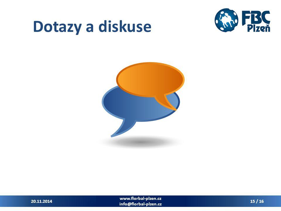 Dotazy a diskuse 20.11.2014 www.florbal-plzen.cz info@florbal-plzen.cz 15 / 16