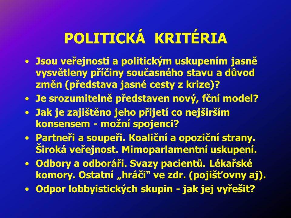 POLITICKÁ KRITÉRIA Jsou veřejnosti a politickým uskupením jasně vysvětleny příčiny současného stavu a důvod změn (představa jasné cesty z krize).