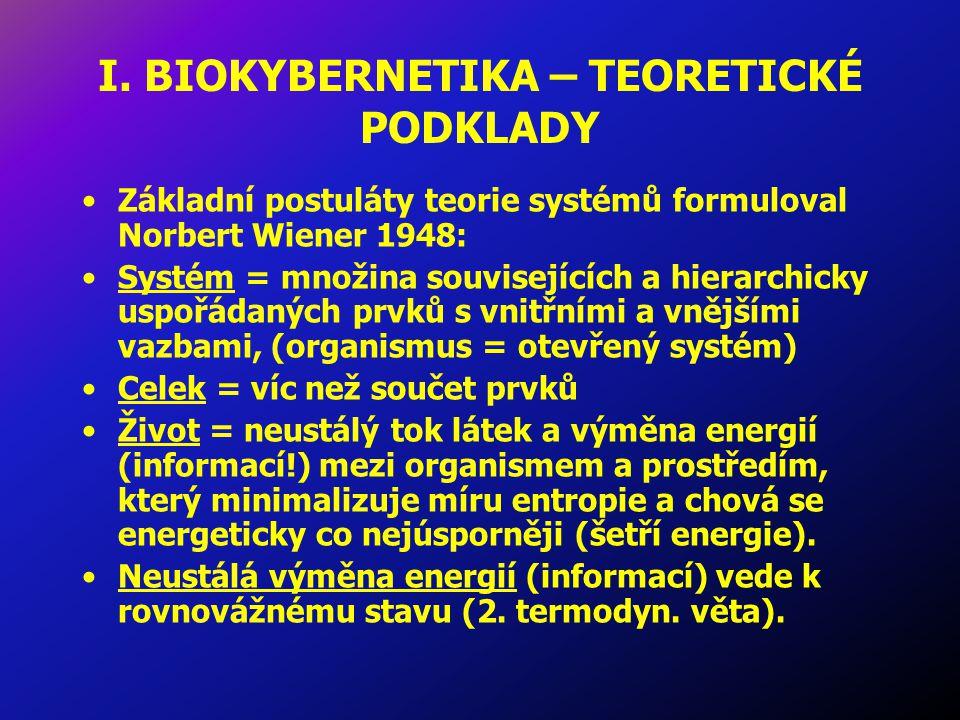 I. BIOKYBERNETIKA – TEORETICKÉ PODKLADY Základní postuláty teorie systémů formuloval Norbert Wiener 1948: Systém = množina souvisejících a hierarchick
