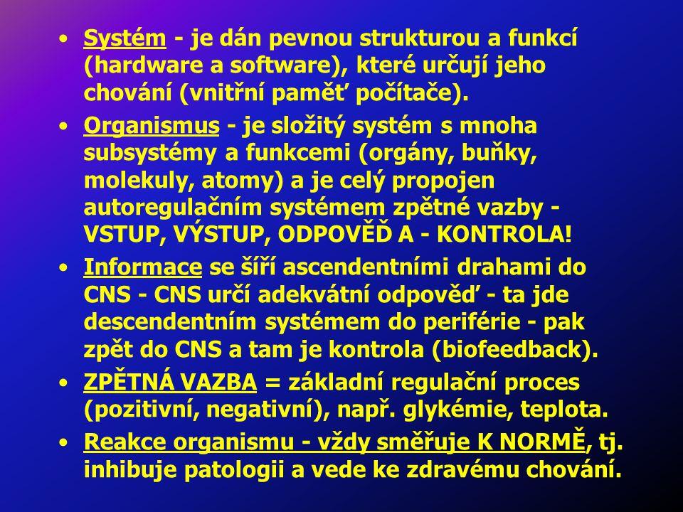 Systém - je dán pevnou strukturou a funkcí (hardware a software), které určují jeho chování (vnitřní paměť počítače).