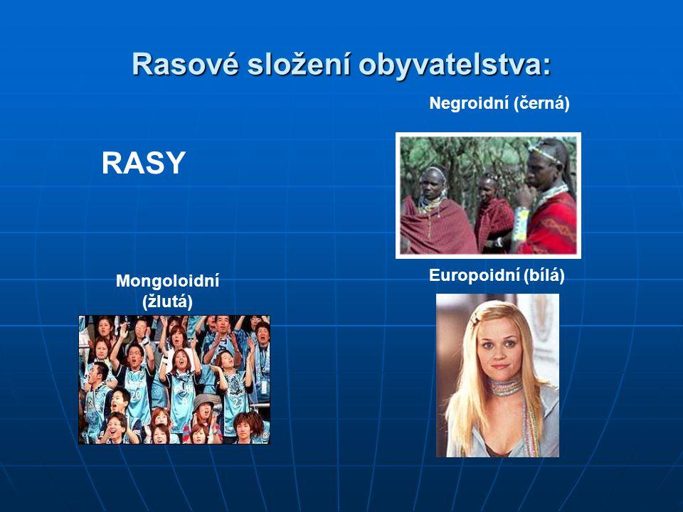 Rasové složení obyvatelstva: Mongoloidní (žlutá) Negroidní (černá) Europoidní (bílá) RASY