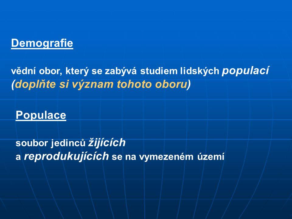Demografie vědní obor, který se zabývá studiem lidských populací (doplňte si význam tohoto oboru) Populace soubor jedinců žijících a reprodukujících s