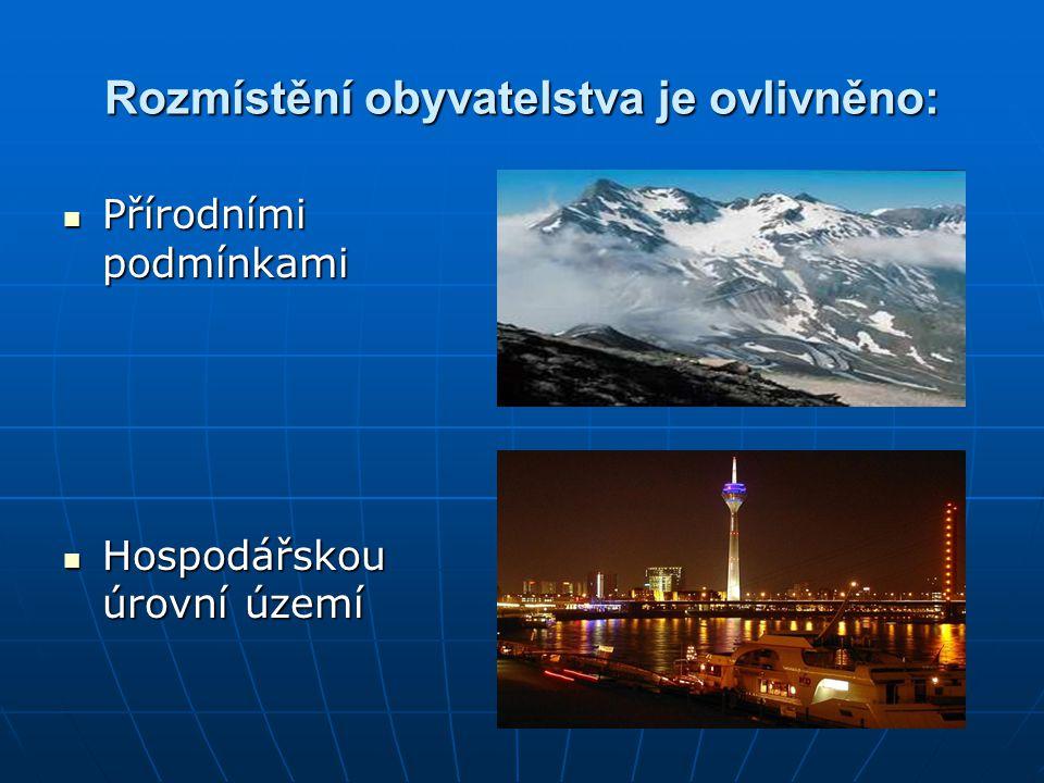 Ukazatel rozmístění: Hustota zalidnění Hustota zalidnění =počet obyvatel na km 2 (nevytváří vždy správnou představu o rozmístění) Evropa 73 obyv./km 2 Svět 38 obyv./km 2 Nizozemí 370 obyv./km 2 Island 2 obyv./km 2