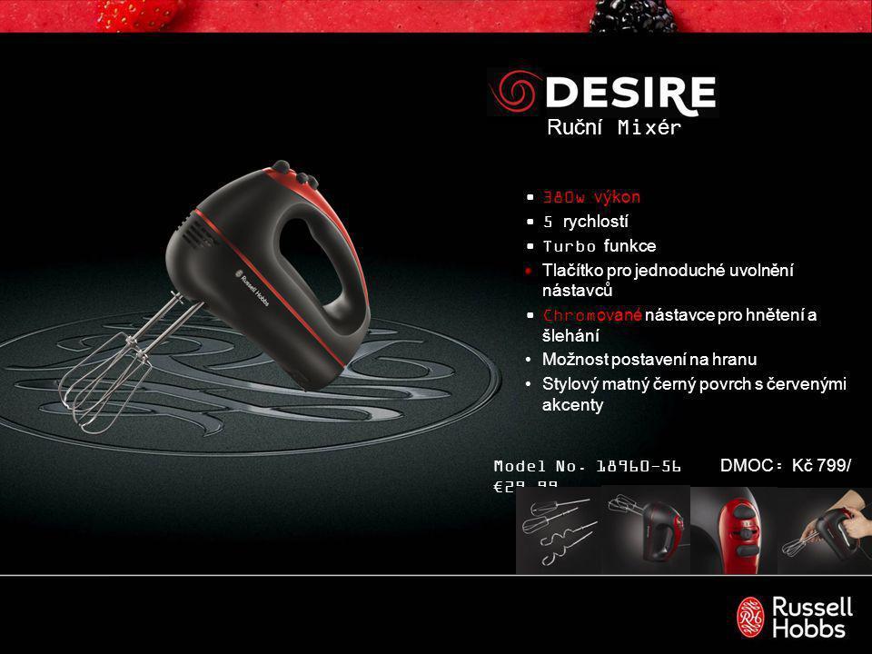 Hand Blender Výkon 400W 2 rychlosti Odnímatelná nerezová mixovací noha s nerezovým nožem 0.5L kapacita nádoby Stylový matný černý povrch s červenými akcenty Model No.