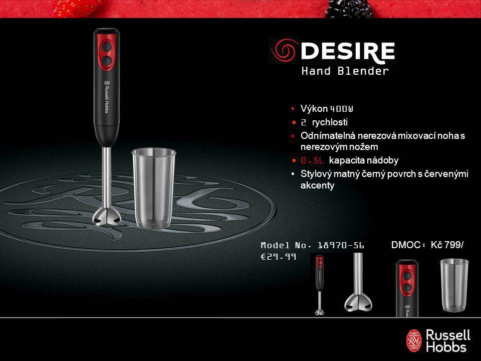 3-in-1 Hand Blender 400W výkon 2 rychlosti Odnímatelná nerezová mixovací noha s nerezovým nožem 0.5L kapacita nádoby 0.5L nádoba na sekání s nerezovými noži Součástí je nástavec na šlehání Stylový matný černý povrch s červenými akcenty Model No.