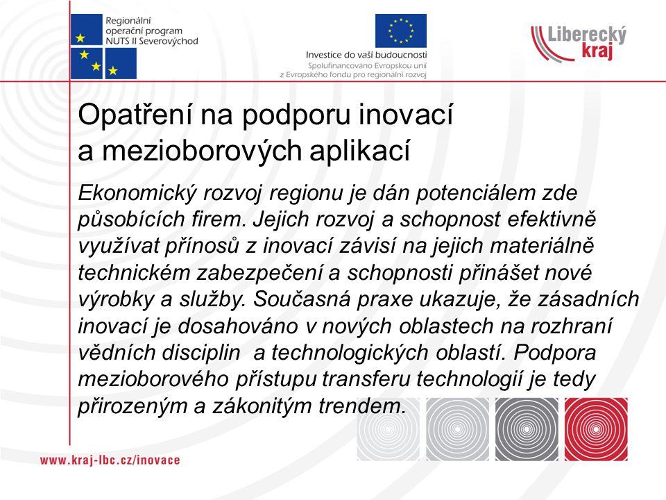 Opatření na podporu inovací a mezioborových aplikací Ekonomický rozvoj regionu je dán potenciálem zde působících firem. Jejich rozvoj a schopnost efek