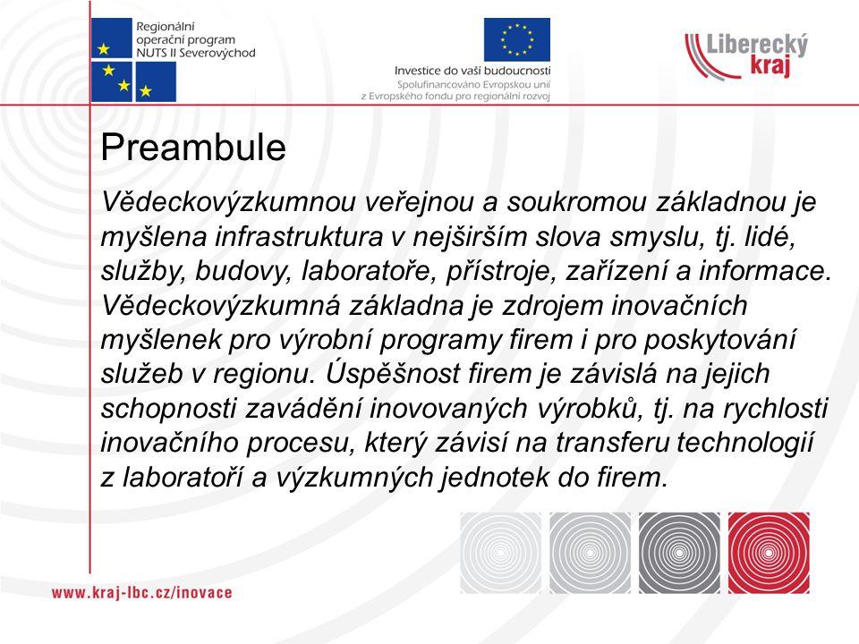 Preambule Vědeckovýzkumnou veřejnou a soukromou základnou je myšlena infrastruktura v nejširším slova smyslu, tj.