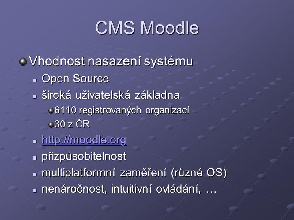 CMS Moodle Vhodnost nasazení systému Open Source Open Source široká uživatelská základna široká uživatelská základna 6110 registrovaných organizací 30 z ČR http://moodle.org http://moodle.org http://moodle.org přizpůsobitelnost přizpůsobitelnost multiplatformní zaměření (různé OS) multiplatformní zaměření (různé OS) nenáročnost, intuitivní ovládání, … nenáročnost, intuitivní ovládání, …