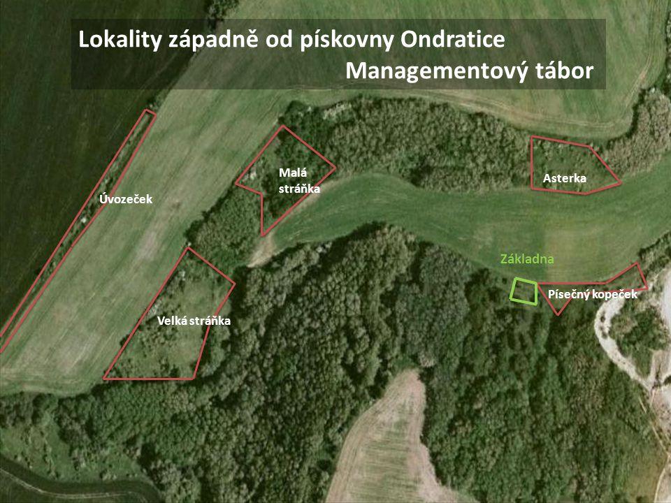 Lokality západně od pískovny Ondratice Managementový tábor Asterka Písečný kopeček Malá stráňka Velká stráňka Základna Úvozeček