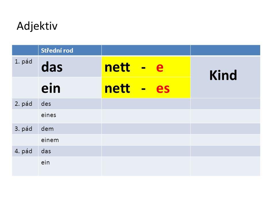 Adjektiv Střední rod 1. pád dasnett - e Kind einnett - es 2. páddes eines 3. páddem einem 4. páddas ein