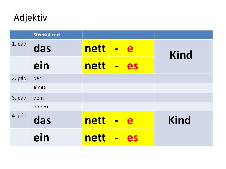 Adjektiv Střední rod 1. pád dasnett - e Kind einnett - es 2. páddes eines 3. páddem einem 4. pád dasnett - e Kind einnett - es
